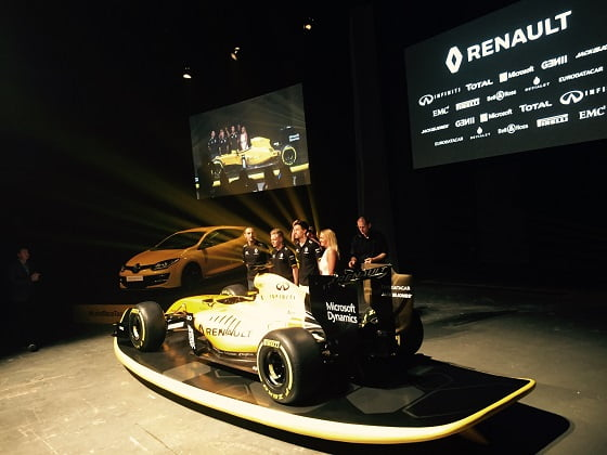 Champion drivers Kevin Magnussen and Jolyon Palmer and Australian pro surfer Ellie-Jean Coffey at the launch of Renault's new F1 racing colours in April.